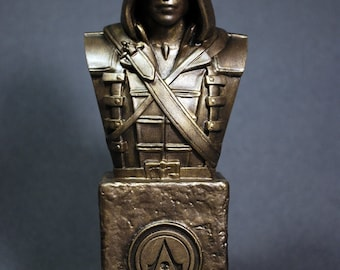 Custom Sculpted EDWARD Kenway ASSASSIN'S CREED Faux Bronze Bust   6.30 inches   16.0 cm