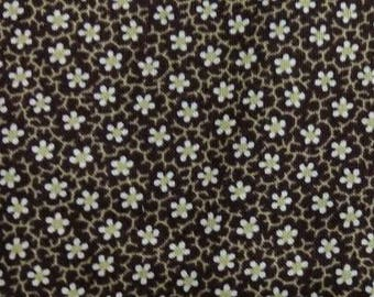 Waterford fabric. Chocolate Brown white flowers quilters cotton quilting Blank Textiles 5314