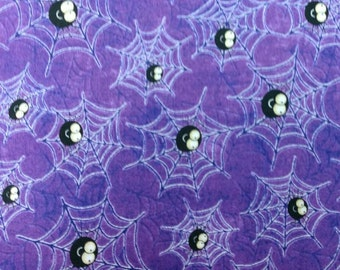 Creepy Hollow fabric. Purple Spiderweb spider spiderwebs halloween fall bug quilters cotton Quilting Treasures 4389