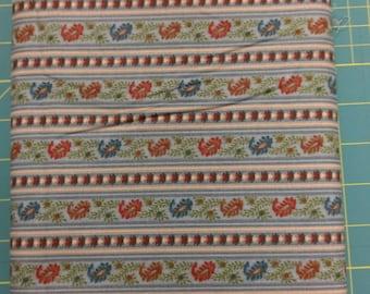Red Blue stripe fabric. Leaf flowers quilt quilting cotton (short bolt)