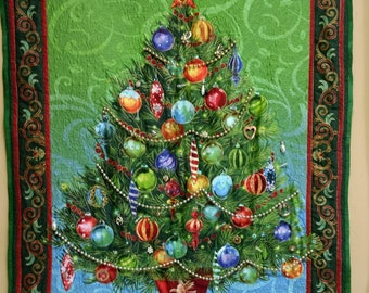 Christmas Tree Quilt with beads. Ornaments decorated 3D blinged wallhanging size green red 2080
