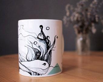 Illustration mug - Whimsical art - Coffee mug - Coffee lover - Kitchen decor - Gift for artist - Art lover - Artist's gift