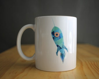 Rocket mug -  Coffee mug - Gift for him - Boyfriend gift - Geeky gift - Art for geeks - Original art - Gift for boy