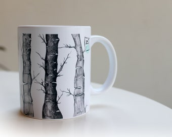 Designer mug -  Tree illustration - Graphic art - Design lover - Coffee lover - Art gift - Art illustration - Original art