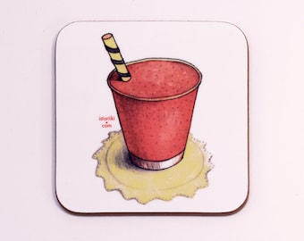 Coffee coaster, Mug coaster, Wood coaster, Wooden Art coaster, Strawberry smoothie, Original print, Art print, Original art illustration
