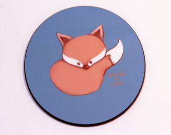 Coffee mug coaster with cute fox drawing, Art gift for her, Drinks coaster for your desk, Fun table coaster, Original art print illustration