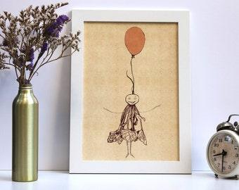 Kitchen illustration, Kitchen decor, Food illustration, Kitchen art, Kitchen print, Kitchen wall hanging, Home decor, Balloon