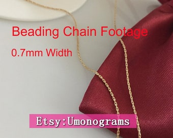 14K Gold Filled Beading Chain 0.7mm Width Cartilage Chains Footage Unfinished  Wholesale BULK Findings 14kt Yellow GF