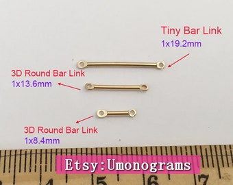 14K Gold Filled 3D Round Bar Link / Tiny Bar Link Shaped Wholesale BULK DIY Jewelry Findings 1/20 14kt GF