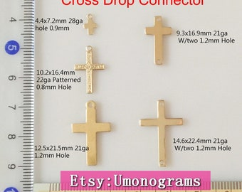 14K Gold Filled Cross Charms Plain Patterned Religious Cross Connector Pendant Wholesale BULK DIY Jewelry Findings 1/20 14kt Yellow GF
