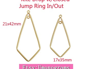 14K Yellow Gold Filled Tubing Kite Drop with Closed Jump Ring Inside & Outside of Drop 17x35mm / 21x42mm Wholesale 14kt GF