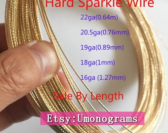 14K Yellow Gold Filled Hard Sparkle Wire 22/20.5/19/18/16/14ga (0.64/0.76/0.89/1/1.27/1.63mm)  Wholesale Jewelry Findings 1/20 14kt GF