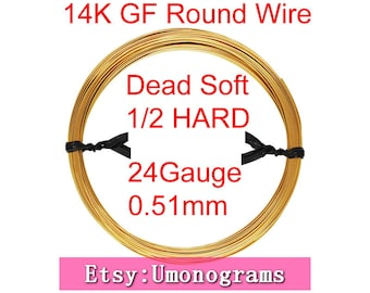 """Gold Filled Wire Round 24 Gauge .020"""" 0.51mm Dead Soft / Half Hard 14K Yellow Gold Filled Wholesale BULK DIY Jewelry Findings 1/20 14kt GF"""