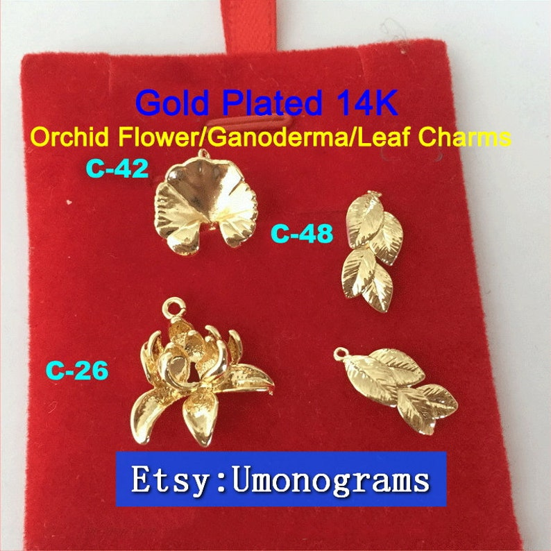 Brass With Gold Plated 14K Orchid FlowerGanodermaLeaf Charms Drop Pendant E-Coated Jewelry Findings Wholesale GP #C-26C-42C-48