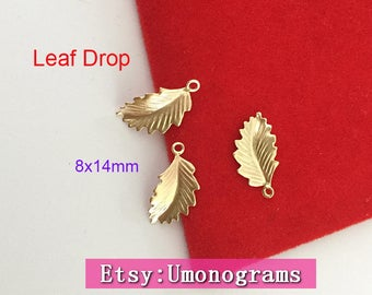 14K Gold Filled Leaf Drop Shiny Nautical Leaves Tiny Drop Stamping Connector Pendant Wholesale BULK DIY Jewelry Findings 1/20 14kt GF