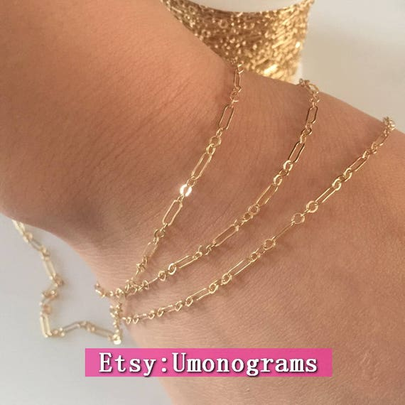 5ft //1 Sterling Silver 5x1.5mm Flat Long and Short Cable Chain 2381-5