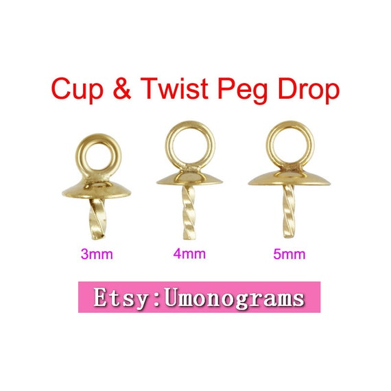5.0mm Cup /& 4.0mm Twist Peg Drop GP Made in USA #4005884D 14k gold filled