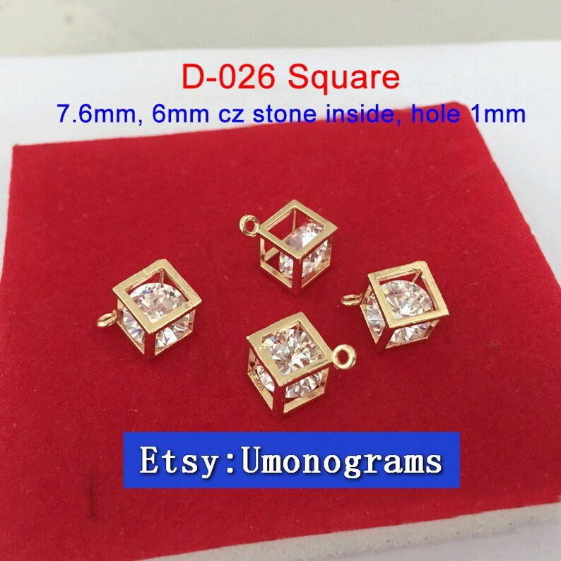 Brass With Gold Plated 14K LanternDiamondSquare Shape Charms White Cz Stone Inside Drop Pendant E-Coated Wholesale GP #D-011,D-025,D-026