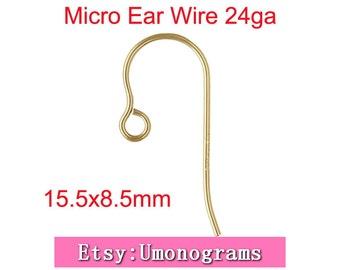 14K Gold Filled Ear Wire 24ga Wire Micro Mini Hook With Loop 15.5x8.5mm Earring Components Wholesale BULK DIY Jewelry Findings 1/20 14kt GF