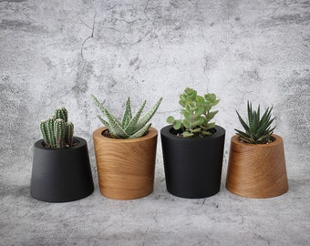 Teak Wood Tumbler Planter, Plant Pot