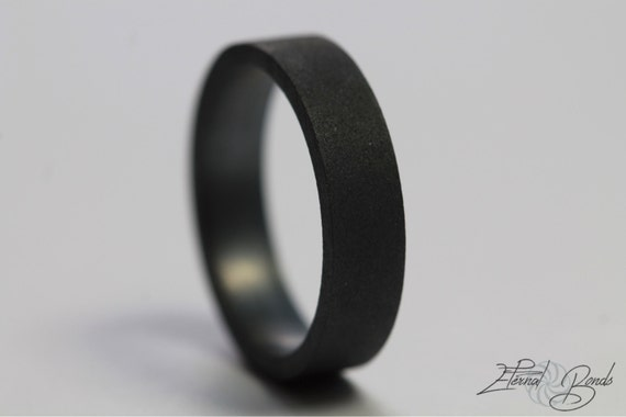 Matte Black Ring 5mm Flat Band Matte Band Oxidized Sterling Etsy