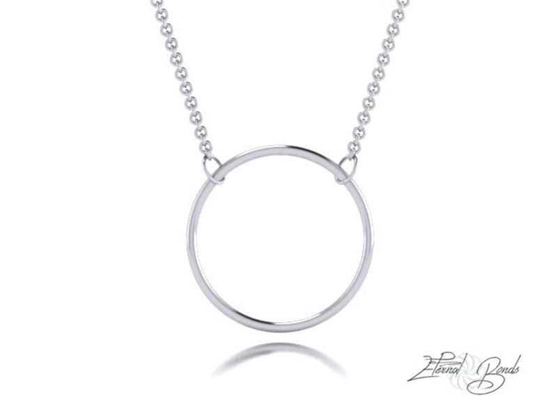 d96425c6eedaea Solid 14k Gold Large Halo Hoop Necklace 14k White Gold 14k | Etsy