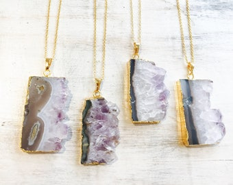 Amethyst Slice Druzy Necklace, Raw Amethyst Necklace, Druzy Necklace, Electroformed Necklace, Purple necklace, Druzy Crystal Necklace, Gem.