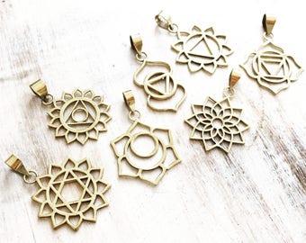 Brass Chakra Pendant, Meditation Jewellery, Anahata, Heart Chakra, Gold Pendant, Yoga Jewellery, lalaboho, Lotus Necklace, Flower of life.