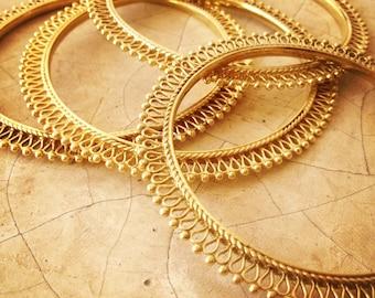 Brass Tribal Dot Filigree Bangle, Rajasthani Bangle, Tribal Bracelet Bellydance Jewellery, Gold Bangle, Boho Brass Bangle, Gold Stacking