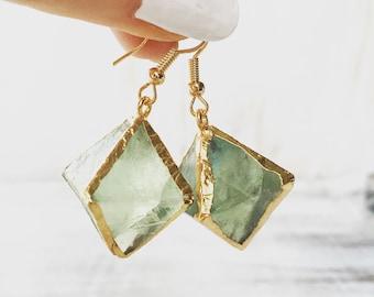 Green Fluorite Gemstone Earrings, Geode, Gold Earrings, Gemstone earrings, Raw Crystal Earrings, Electrofotmed, Crystal Gold dangle