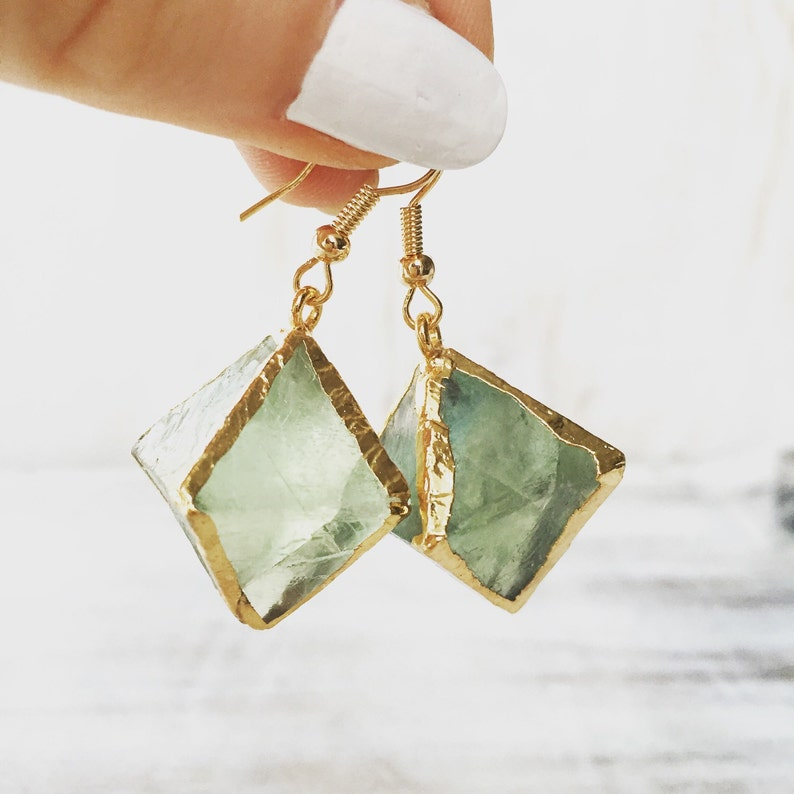 Green Fluorite Gemstone Earrings Geode Gold Earrings image 0