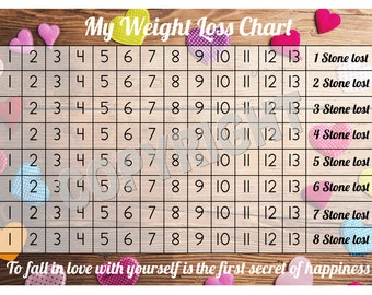 weight loss chart etsy