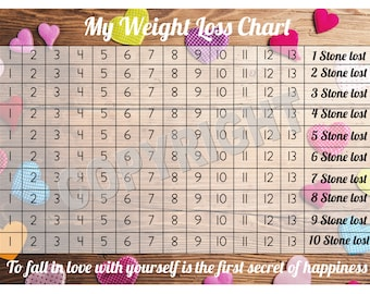 Weight Loss Chart / Tracker - 10 stone - Comes with Star Stickers - Weight Loss Motivation - A4 laminated 300gsm Card