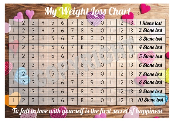weight loss chart tracker 10 stone comes with star etsy