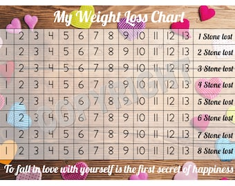 Weight Loss Chart / Tracker - 8 stone - Comes with Star Stickers - Weight Loss Motivation - A4 laminated 300gsm Card