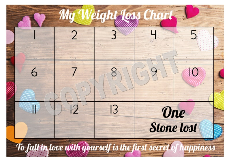 Weight Loss Chart Tracker 1 Stone Comes With Star Stickers Etsy