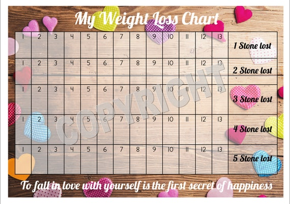 Weight Loss Chart Tracker 5 Stone Comes With Star Etsy