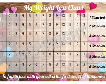 Weight Loss Chart / Tracker - 6 stone - Comes with Star Stickers - Weight Loss Motivation - A4 laminated 300gsm Card