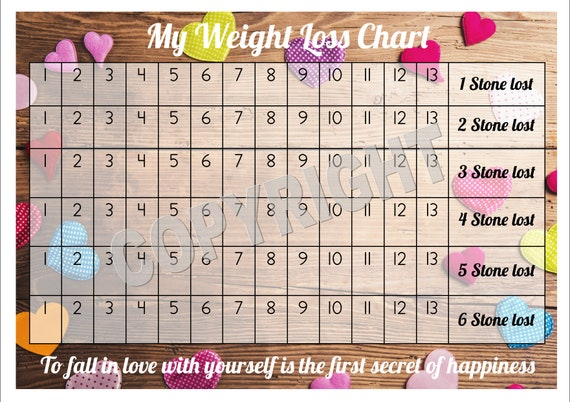 Weight loss chart tracker 6 stone comes with star etsy