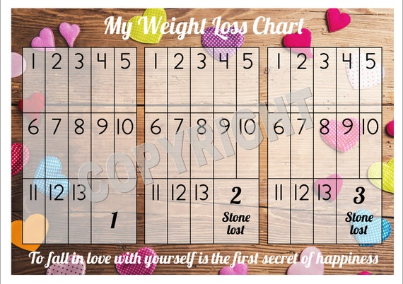 weight loss chart tracker 3 stone comes with star etsy