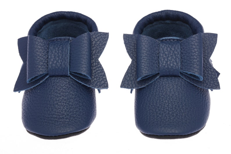 a869796964b Navy Blue Baby Moccasins Leather Baby Shoes with Bow Infant