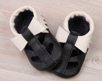 White&Black Baby Sandals Bow, Boys', Girls, Baby Wedding Shoes, Leather T-strap Baby Shoes/Moccasins, Soft Sole Toddler/Infant Shoes, Evtodi