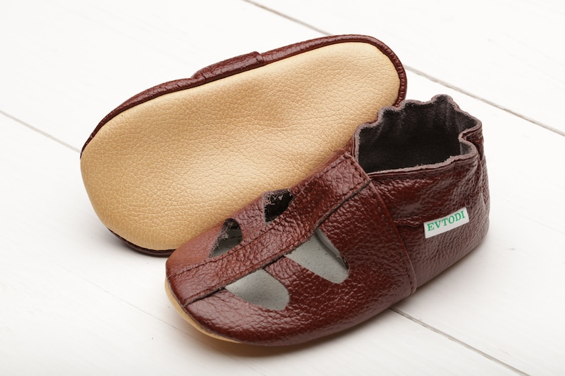 8fc75a86304be Dark Brown Baby Shoes, Leather Baby Shoes, T-strap Toddler Shoes, Baby  Sandals, Soft Sole Baby Shoes, Baby Moccasins, Infant Slippers,Glossy