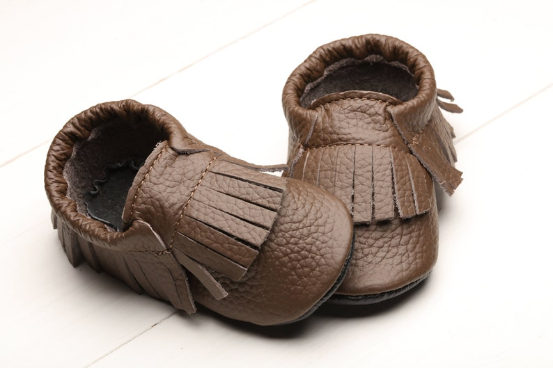 36a7e8a5b76c3 Brown, Baby Shoes, Leather Baby Moccasins, Soft Sole Baby Shoes, Infant/  Toddler Shoes, Baby Booties/ Slippers, Boys', Girls', Gifts, Evtodi