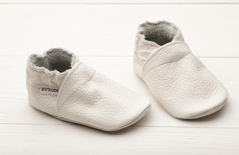 225ad8baa Milky White Baby Shoes Soft Sole Baby Shoes Leather Baby | Etsy