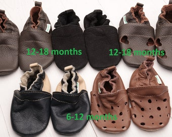HOT SALE -50% Baby shoes, Soft sole baby shoes Leather baby shoes Baby girl shoes, Baby boy shoes, Size 6-12, 12-18- months