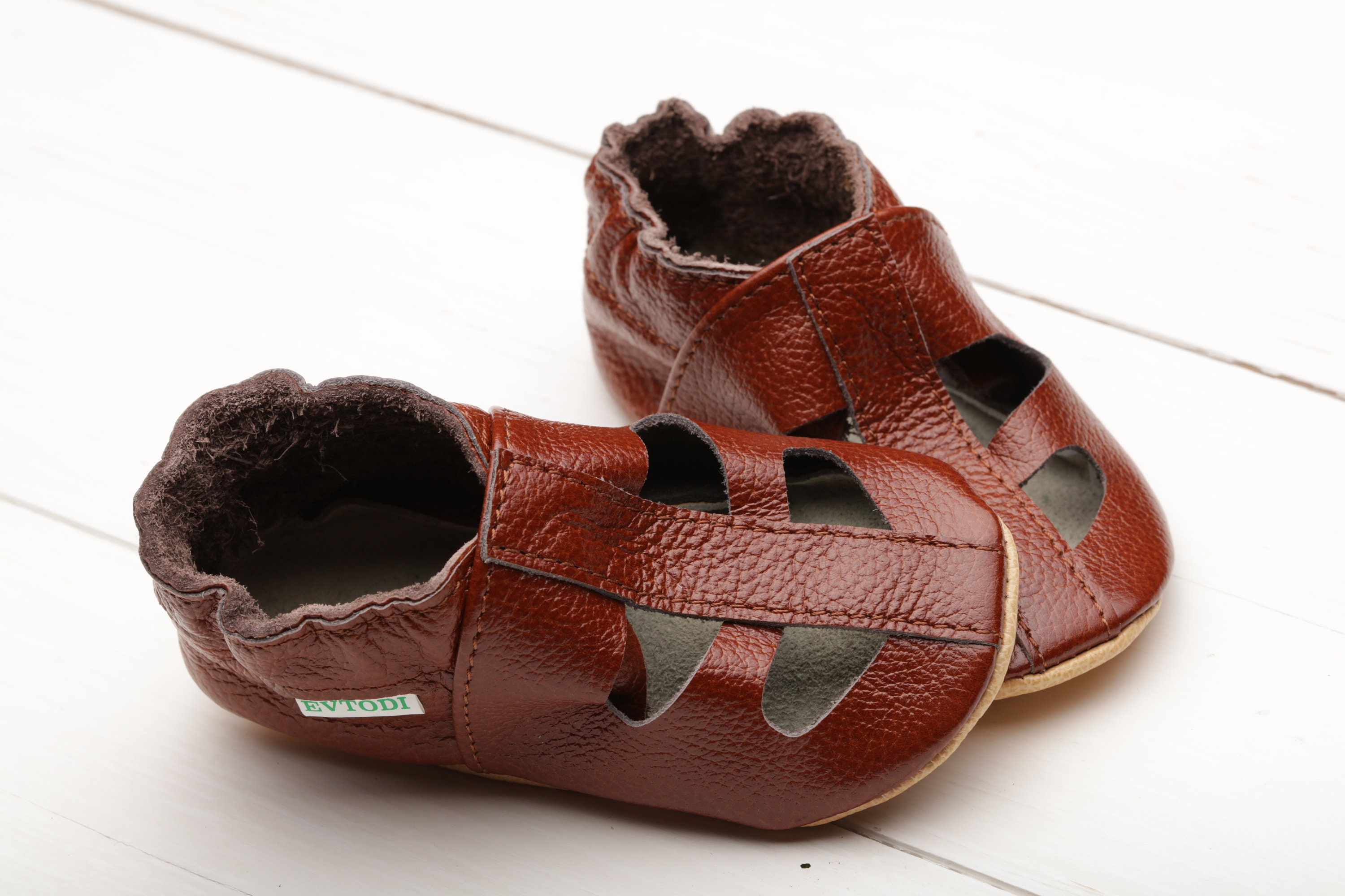 e660043c8 Brown Baby Sandals t-Strap Baby Shoes Leather Baby Shoes