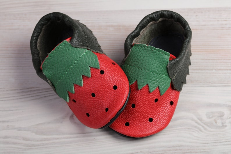 7fdce904f407b Leather Baby Shoes, Soft Sole Baby Shoes, Baby Moccasins,  Newborn/Toddler/Infant Shoes, Red&Green Strawberry/Watermelon Shower Gifts,  Evtodi
