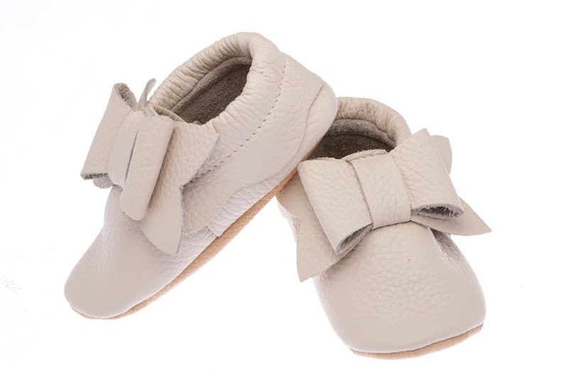 0b4ad503486 Ivory Baby Shoes with Bow Girls  Toddler Wedding Shoes