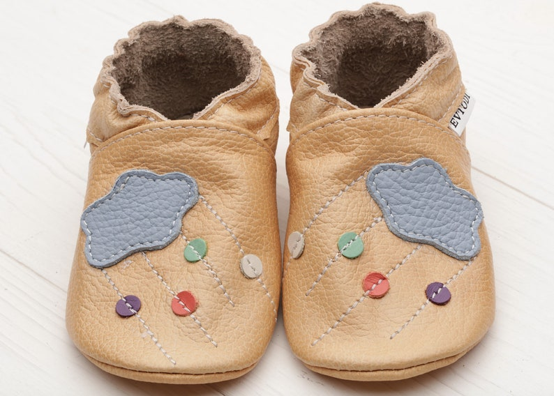 b2300ec1f Beige Baby shoes with Cloud Leather baby shoes Soft sole